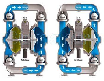 Pada Pompa Wilden, Karet membrane berfungsi untuk menarik dan mendorong fluida. Pada sistem ini, karet membran dipasang secara sepasang dan dihubungkan dgn actuator yang bergerak secara reciprocal (kanan-kiri). pada setiap ujung saluran membrane terpasang check vale. kombinasi antara pergerakan membran dan fungsi check valve menghasilkan suatu sistem pompa yang efisien.